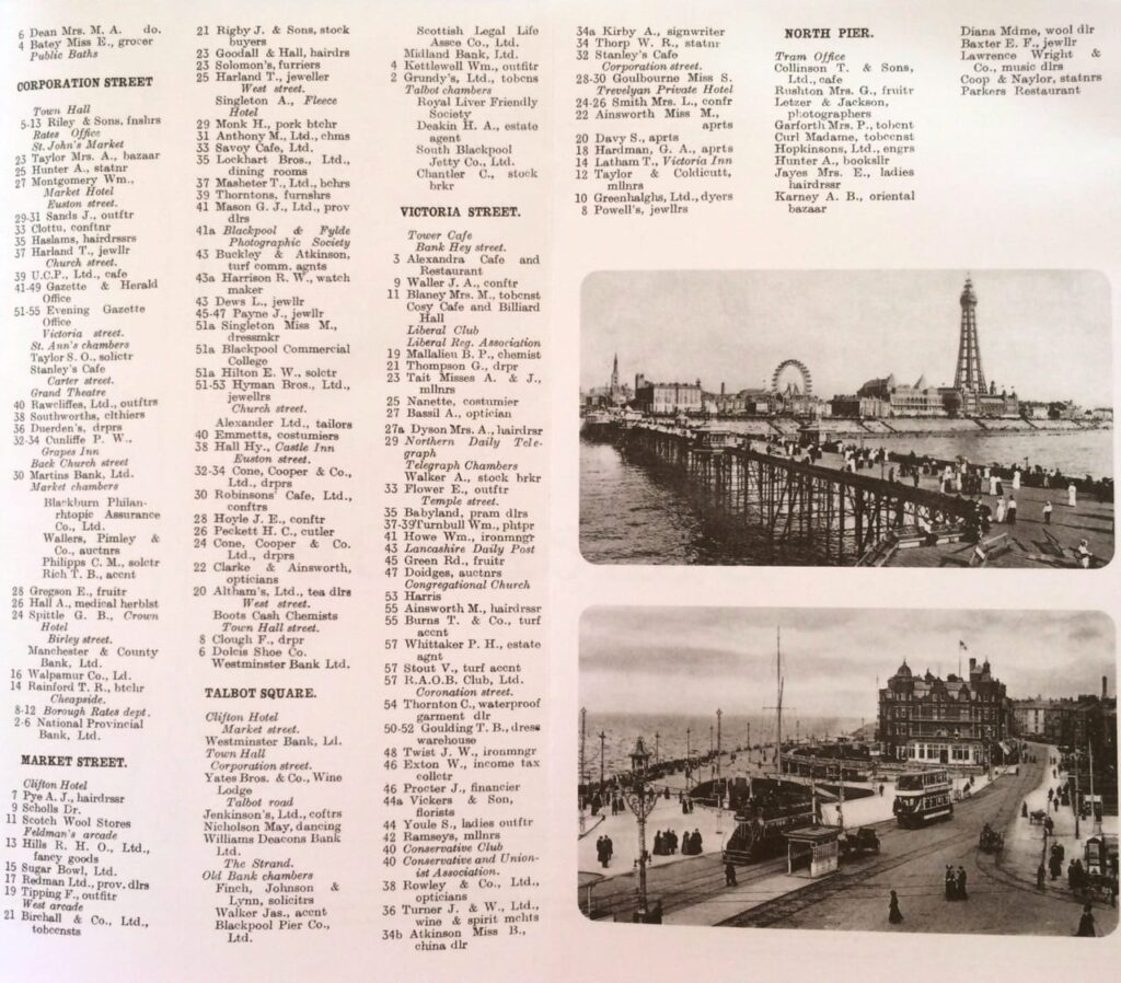 List of residents from the Godfrey Edition map of Blackpool from 1910