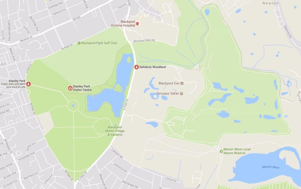 Google map of Salisbury woodlands