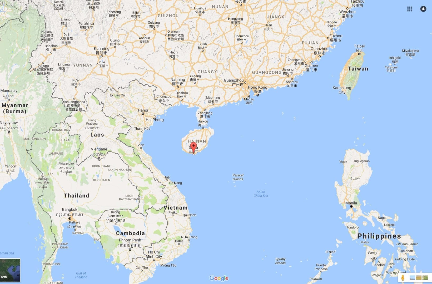 Google map of where Sanya is in China, new sister city of Blackpool