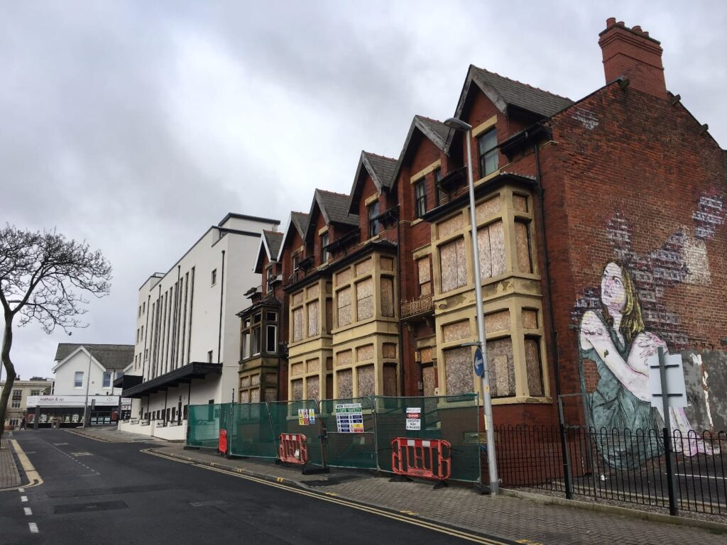 Buildings formerly at Leopold Gove, where the hotel will be built for Blackpool's new conference centre