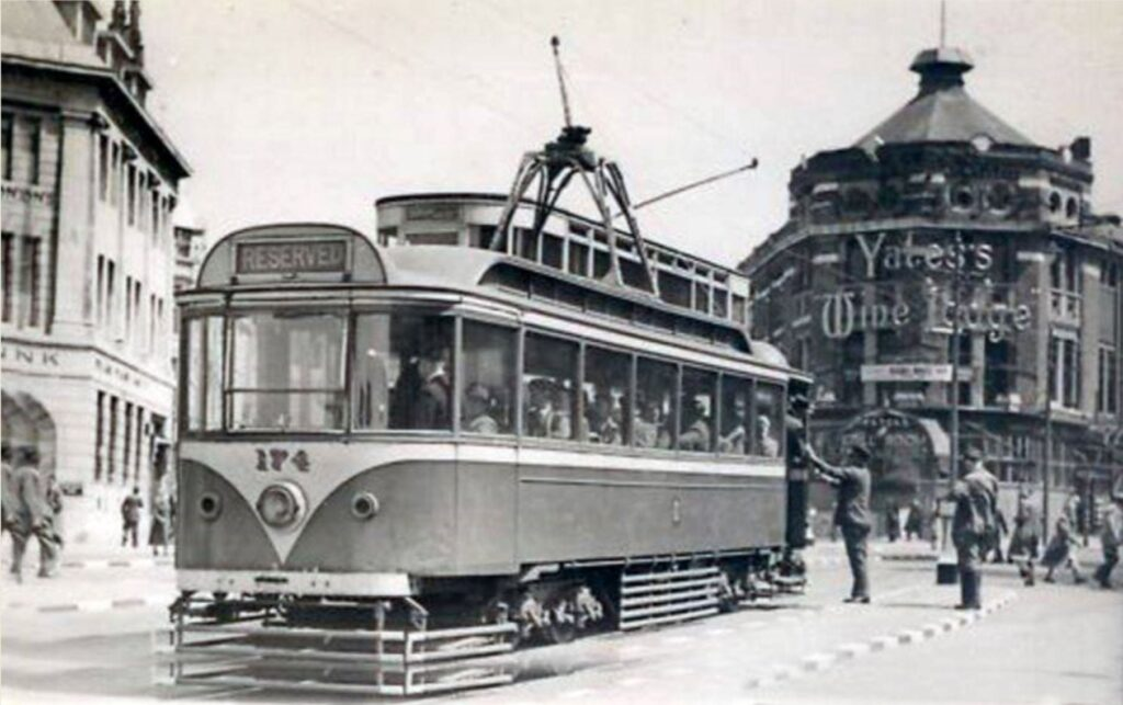 Original trams on Talbot Road, soon to be running again, when the Blackpool Tramway Extension is complete