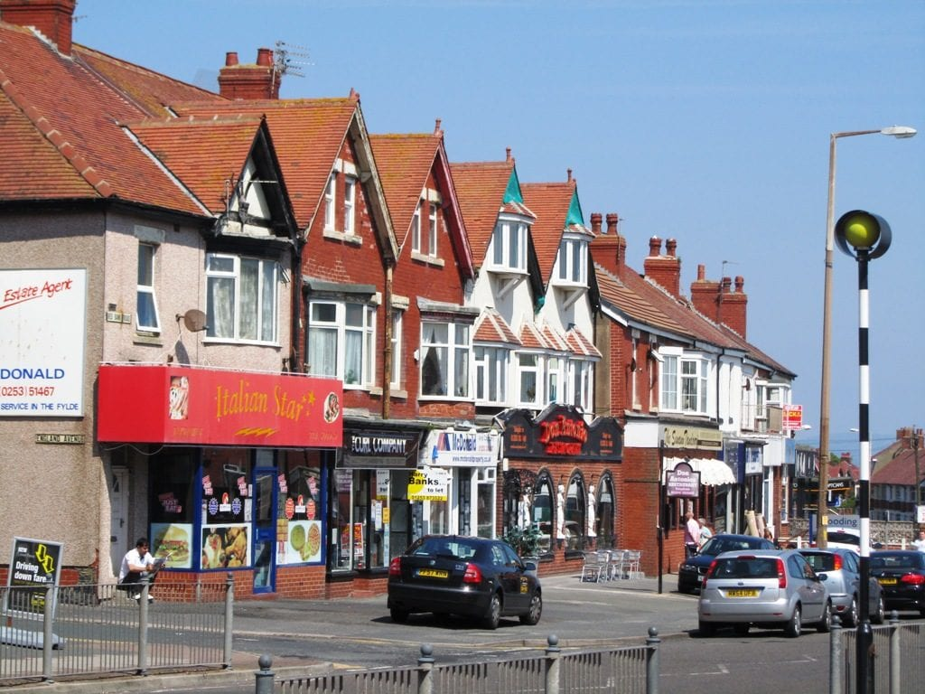 Red Bank Road at Bispham. Head straight forward to come to Bispham Village
