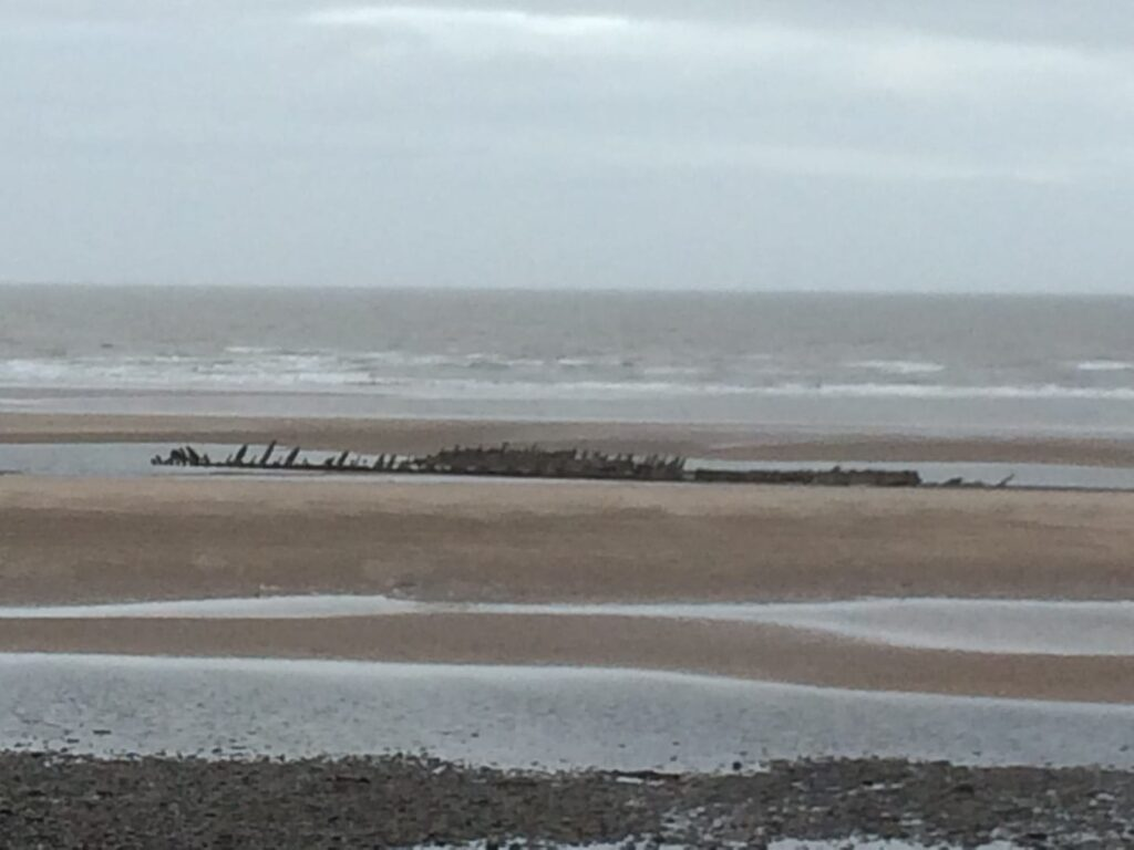 Ribs of the Abana Shipwreck on Anchorsholme Beach, northern Blackpool
