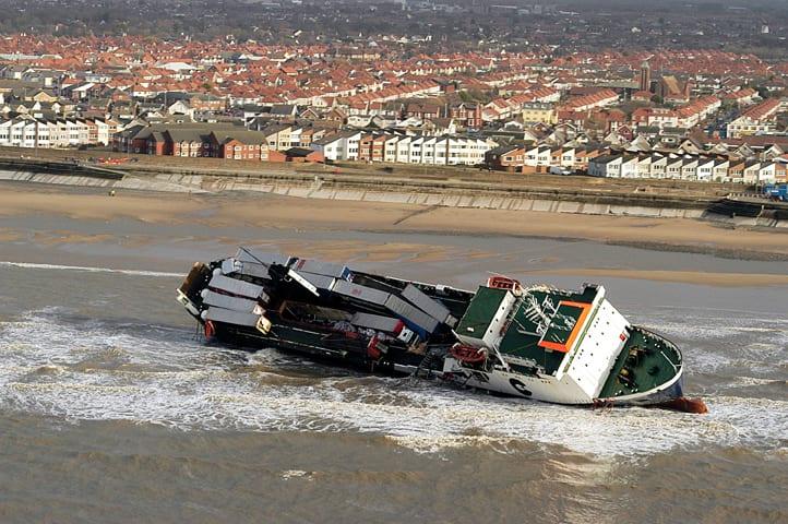 Riverdance Shipwreck on Blackpool beach at Anchorsholme