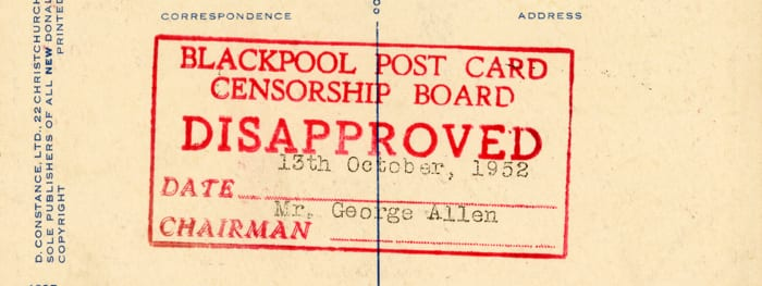 Seaside postcard censorship in Blackpool