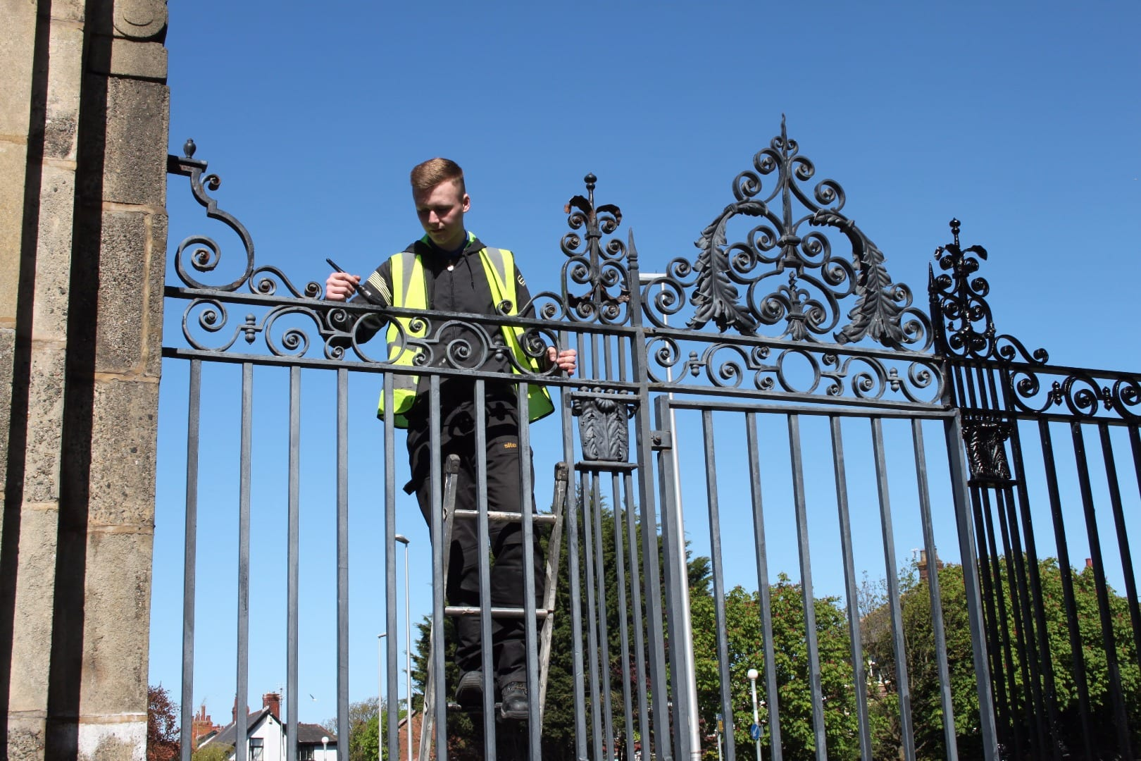 Repainting the gates at Blackpool Stanley Park