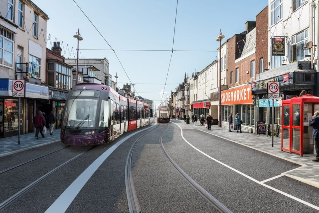 Visual of the Blackpool Tramway Extension at Talbot Road