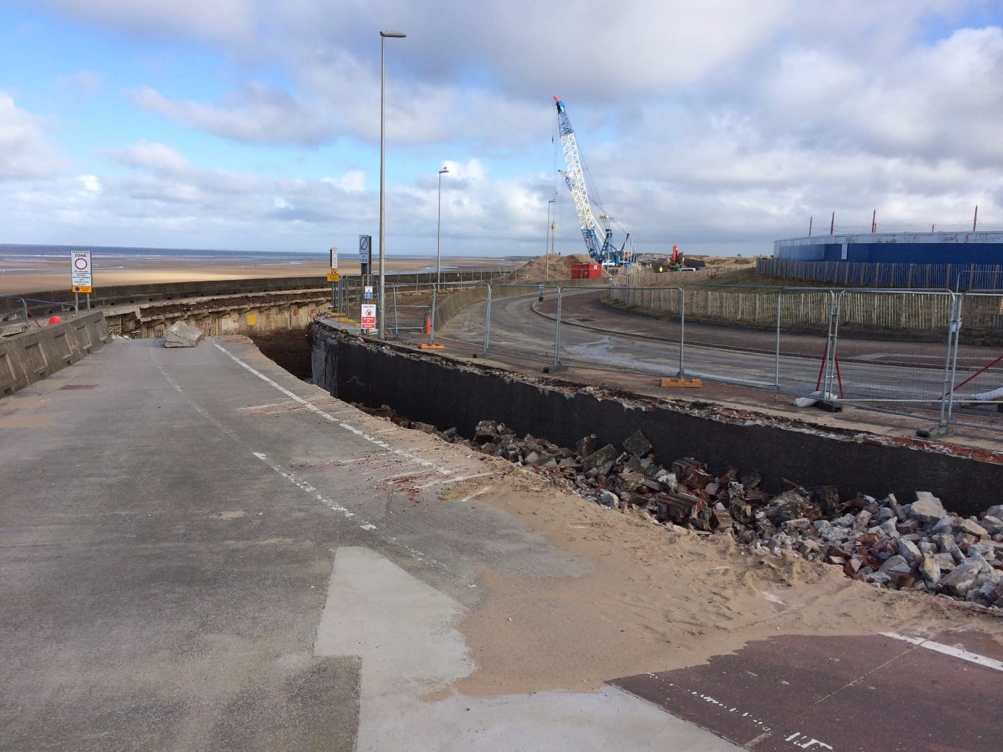 Underground boat store at Little Bispham, filled in as part of Anchorsholme sea defence works