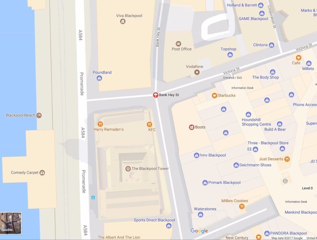 Map of Victoria and Bank Hey Streets in central Blackpool