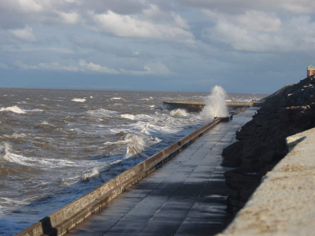High tide in the Bispham area of Blackpool seafront