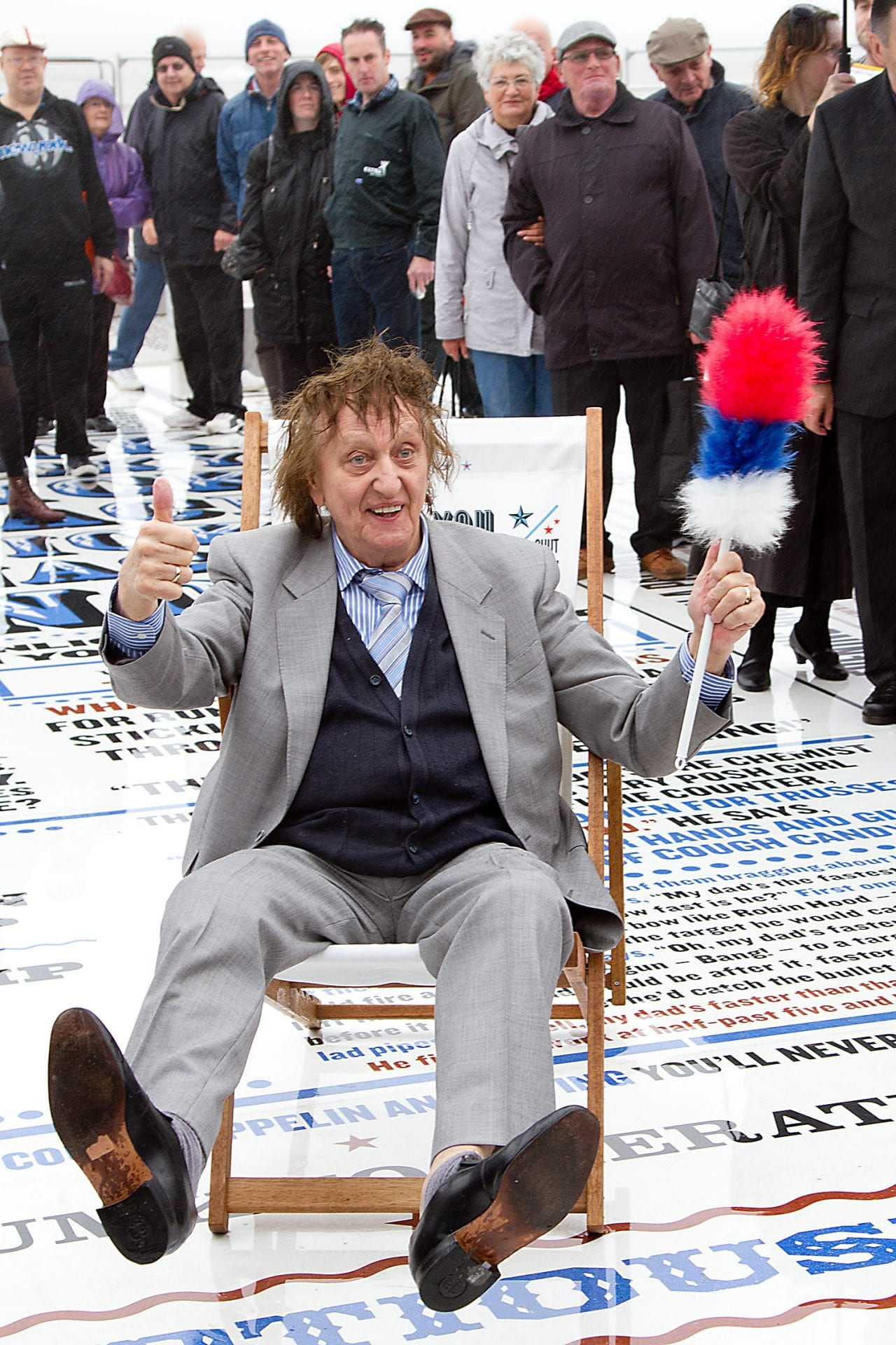 Ken Dodd opening the Comedy Carpet. Photo: David Hewitt