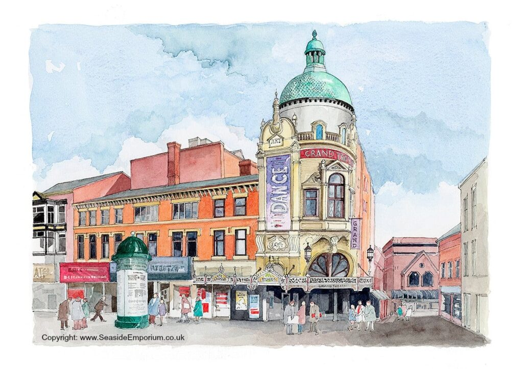 Blackpool Grand Theatre and Church Street. Watercolour by Seaside Emporium