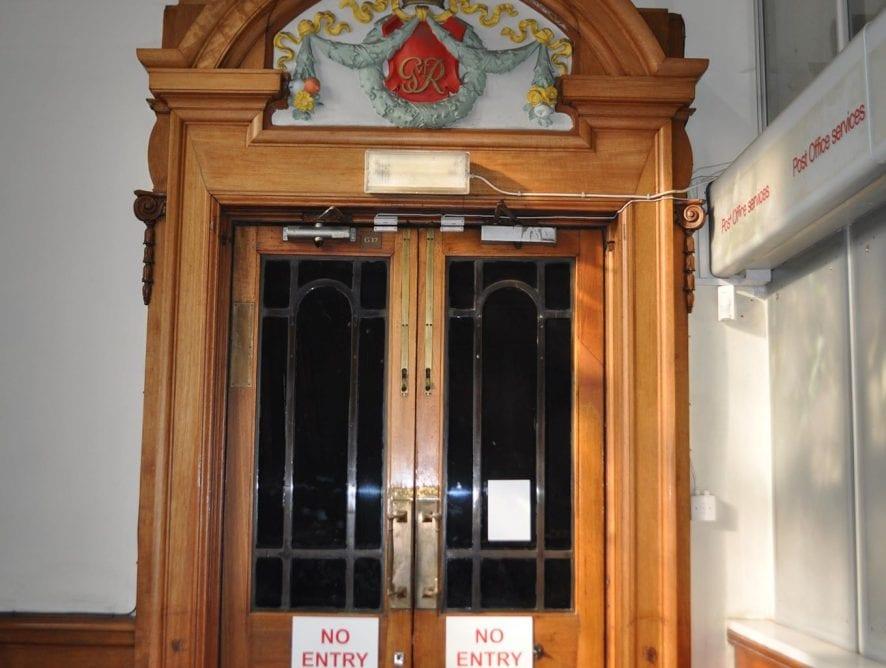 An original doorway inside Blackpool Post Office before it closed