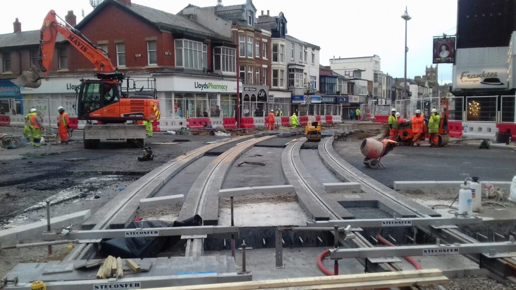 Blackpool Tramway Extension on 31.10.18, photo from Barrie C Woods