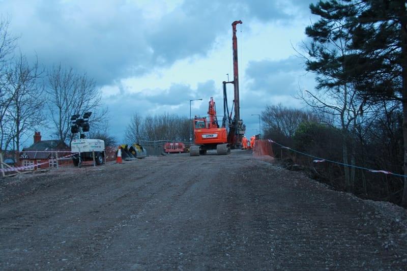 Roadworks in progress at Yeadon Way in 2015. Blackpool Bridge Repairs