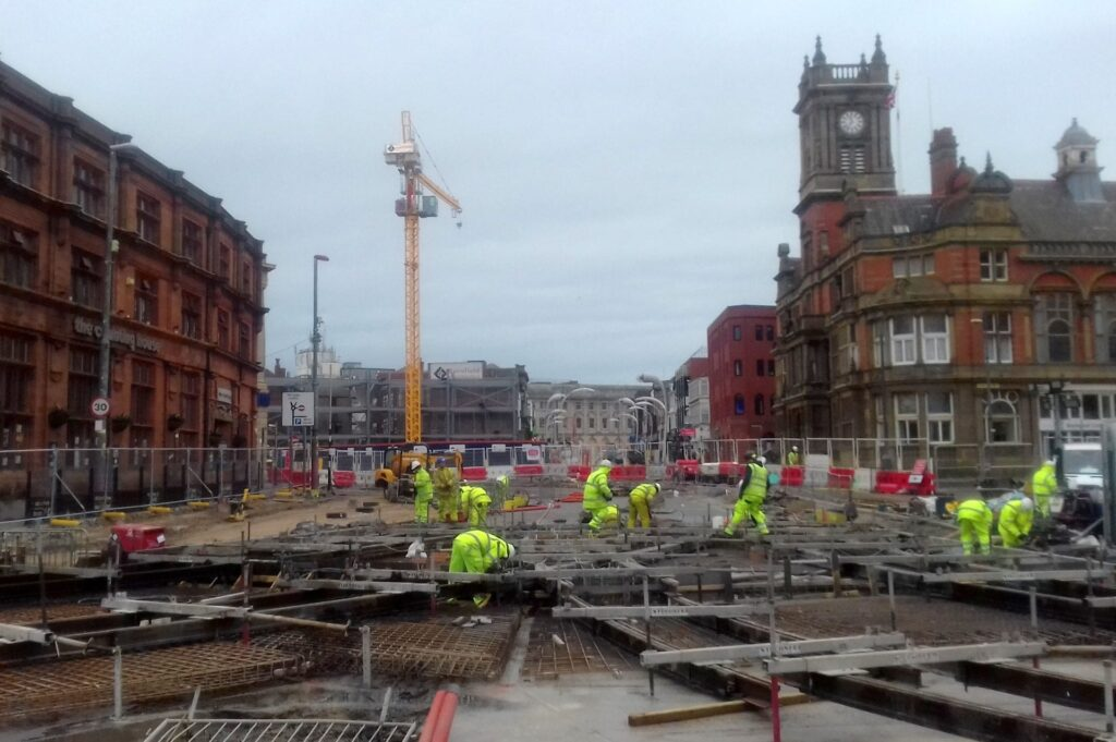 Progress on the Blackpool tramway extension at Talbot Road
