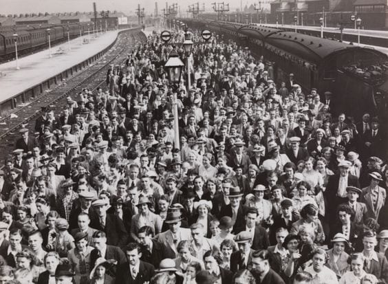 Crowds of people at Blackpool Central Railway Station