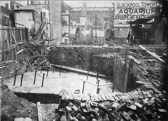 Foundations for the base of Blackpool Tower