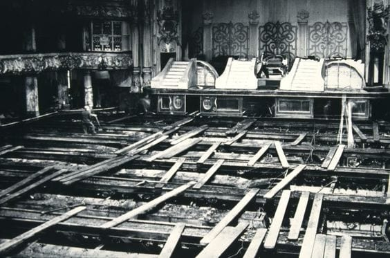 Fire damage at Blackpool Tower ballroom in 1956. Photo: Blackpool Council Tower archive